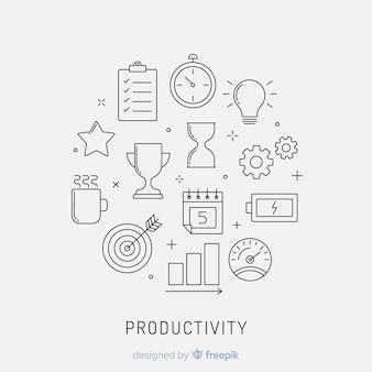 Conceito de produtividade desenhada mão colorido