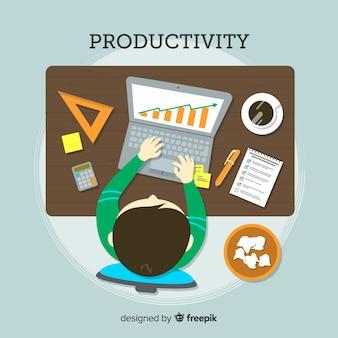 Conceito de produtividade moderna com design plano