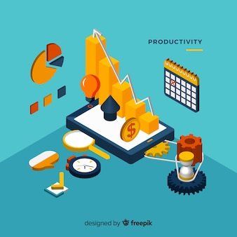 Conceito de produtividade moderna com vista isométrica