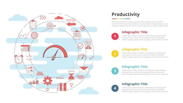 Conceito de produtividade para banner de modelo de infográfico com informações de lista de quatro pontos