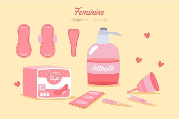 Conceito de produtos de higiene feminina