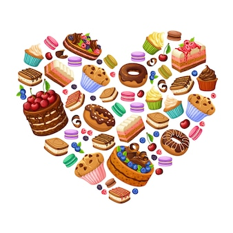 Conceito de produtos doces coloridos