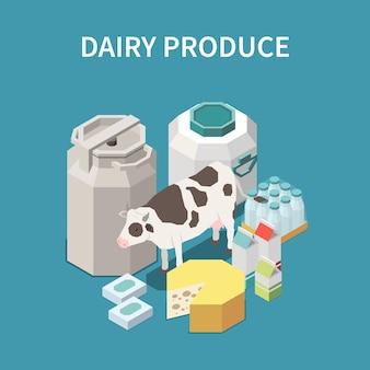 Conceito de produtos lácteos com símbolos isométricos de queijo e leite