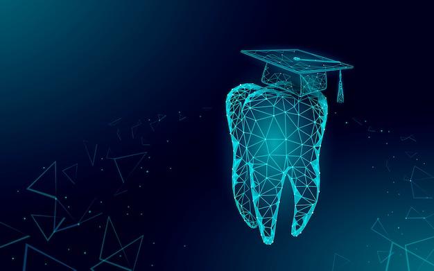Conceito de programa de certificado de graduação dental de medicina a distância de e-learning. baixa poli 3d render chapéu de formatura no modelo de banner de dente. ilustração de grau de educação na internet