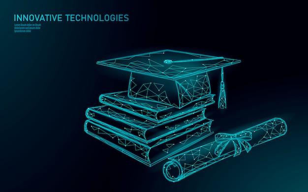 Conceito de programa de certificado de graduação distante de e-learning. poli baixo 3d render chapéu de formatura, livros, diploma de design moderno poligonal