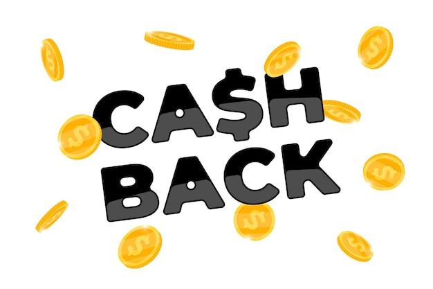 Conceito de programa de fidelidade cashback. moedas caindo devolvidas ao modelo de design de banner de conta bancária. cartaz de serviço de dinheiro de reembolso. símbolo de dólar de bônus em dinheiro de volta na ilustração de eps de vetor de fundo branco