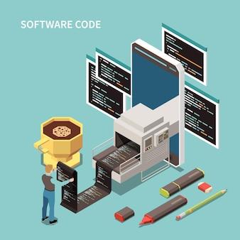 Conceito de programação com código de software e ilustração isométrica de símbolos de suporte