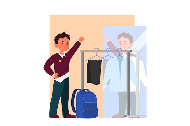 Conceito de programação de menino de escola. garotinho se vestindo para ir à escola. aluno vestindo seu uniforme escolar. horário infantil, vida moderna.