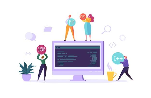 Conceito de programação de software e página da web. personagens de programador trabalhando no computador com código na tela. codificação do local de trabalho do freelancer.