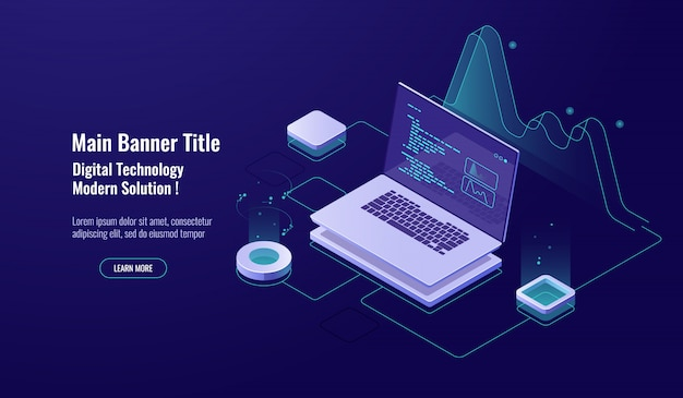 Conceito de programação ícone isométrica, laptop com código de programa na tela, néon escuro de visualização de dados