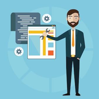 Conceito de programador ou codificador de fluxo de trabalho para codificação de sites e programação html de aplicação web