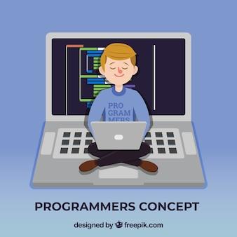 Conceito de programadores com design plano