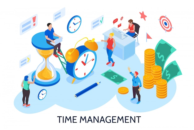 Conceito de projeto de gerenciamento de tempo para planejamento e organização do tempo de trabalho sem interrupção e procrastinação isométricas