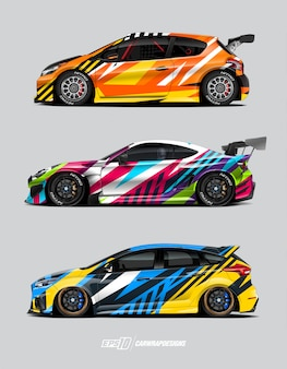 Conceito de projetos de envoltório de carro de corrida