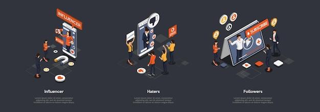 Conceito de promoção em mídias sociais e estratégias de marketing. empresários influenciam e aumentam assinantes, bloqueiam aborrecedores. pessoas que gostam e não gostam.