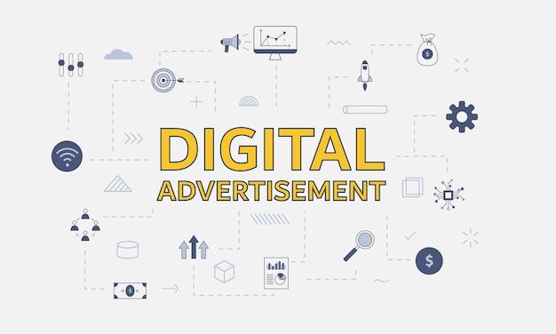 Conceito de propaganda digital com conjunto de ícones com uma palavra grande ou texto no centro