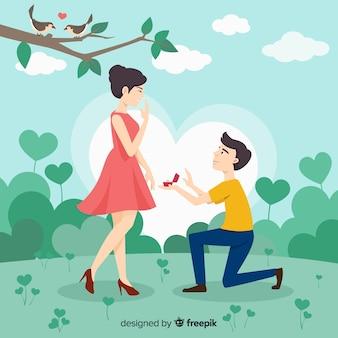 Conceito de proposta de casamento romântico