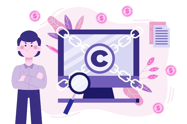 Conceito de propriedade intelectual com computador