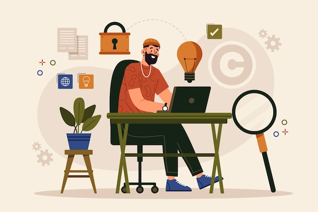 Conceito de propriedade intelectual de design plano com homem e laptop