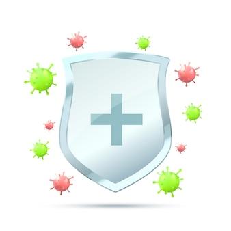 Conceito de proteção contra vírus escudo de segurança para escudo de vetor de proteção de vírus em fundo branco com microorganismo de vírus vermelho e verde