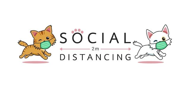 Conceito de proteção covid-19 personagens de desenhos animados gatos usando máscara protetora distanciamento social