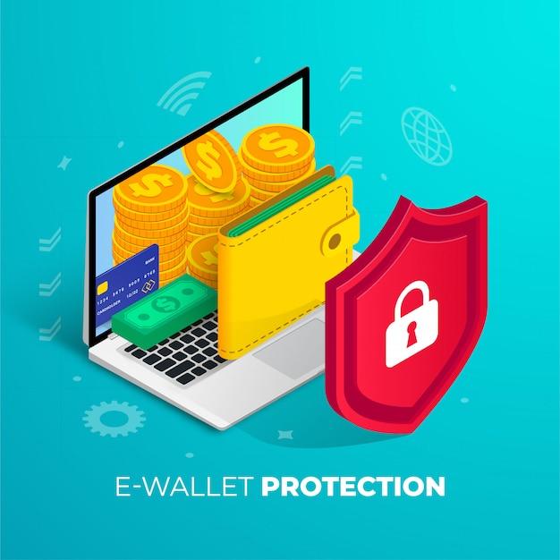 Conceito de proteção de carteira eletrônica isométrico. pilha de moedas de ouro 3d, cartão de crédito, pacote de dinheiro, bolsa na tela do laptop. dinheiro digital, símbolo de internet banking para web, aplicativos on-line, design. ilustração