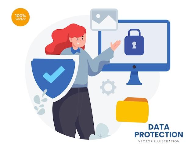 Conceito de proteção de dados com a mulher de negócios para tecnologia de segurança com cadeado e escudo simbólico.
