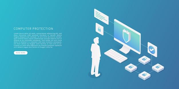Conceito de proteção de dados de computador em ilustração vetorial isométrica plana segurança de dados com sistema de segurança de dados de pessoa de computador desktop.