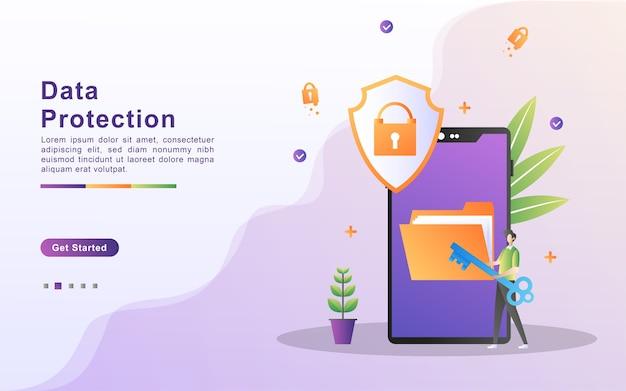 Conceito de proteção de dados. faça backup e salve dados importantes.