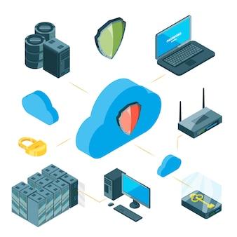 Conceito de proteção de dados. infográfico de armazenamento isométrico em nuvem