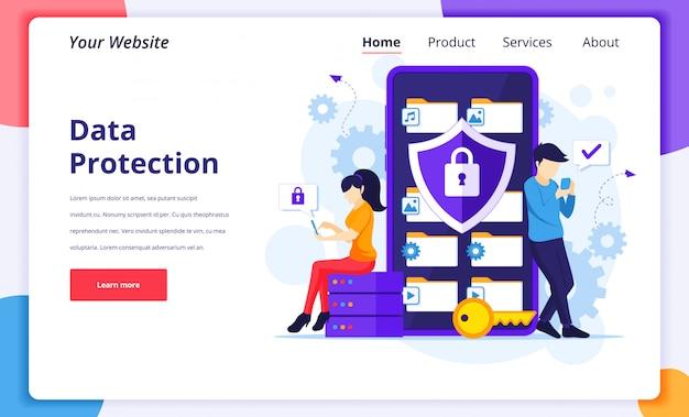 Conceito de proteção de dados, pessoas que protegem dados e arquivos em um smartphone gigante. modelo de design da página de destino
