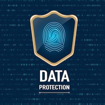Conceito de proteção de dados, protetor de ouro protege uma impressão digital em fundo azul marinho