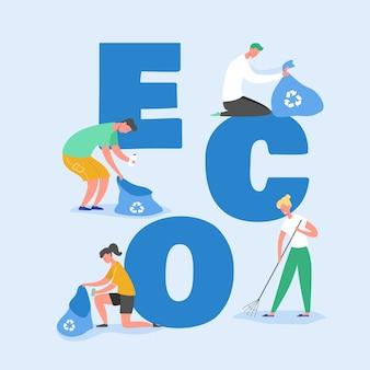 Conceito de proteção de ecologia, pessoas coletando lixo na praia. salve nosso planeta. voluntários limpam lixo e pôster, banner, folheto, brochura. flat cartoon