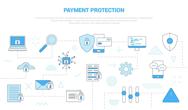 Conceito de proteção de pagamento com banner de modelo de conjunto de ícones com ilustração moderna do estilo de cor azul