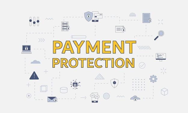 Conceito de proteção de pagamento com conjunto de ícones com uma palavra grande ou texto no centro