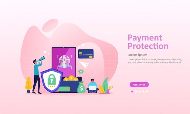 Conceito de proteção de pagamento, segurança garantida finanças página de destino