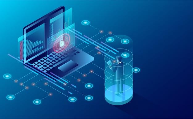 Conceito de proteção de privacidade. empresário proteger dados e segurança de confidencialidade