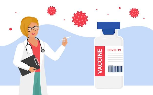 Conceito de proteção de vacinação contra coronavírus com médico segurando seringa com dose de vacina