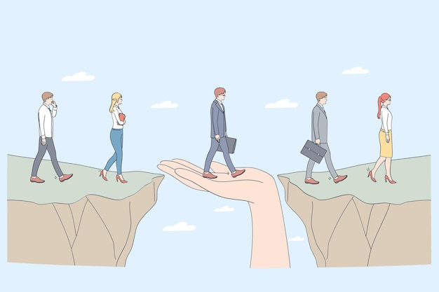Conceito de proteção e parceria. mão humana ajudando empresários a irem de um lado para o outro apoiando como ajuda