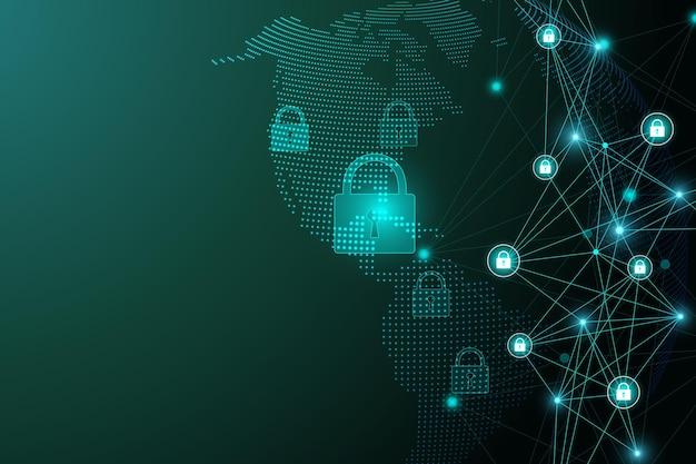 Conceito de proteção. verificação de proteção de escudo do sistema de segurança de dados. segurança cibernética e proteção de informações ou rede. tecnologia cibernética do futuro. privacidade do sistema. ilustração vetorial.