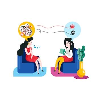 Conceito de psicoterapia. mulher em uma sessão de psicoterapia com uma ilustração vetorial de psicoterapeuta.