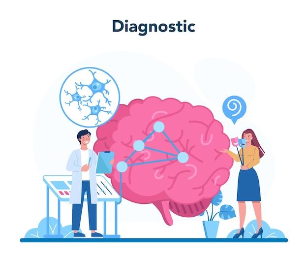 Conceito de psiquiatra. diagnóstico de saúde mental. tratamento médico