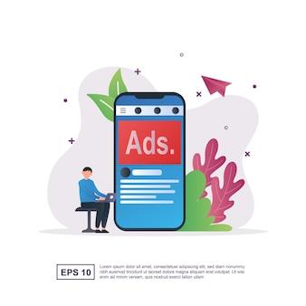 Conceito de publicidade com anúncios escritos em telas de smartphones e pessoas sentadas segurando laptops