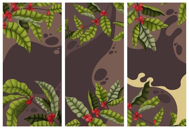 Conceito de publicidade de café com galhos e frutas da árvore de café no estilo cartoon. banner vertical ou folheto sobre fundo marrom, hora do café
