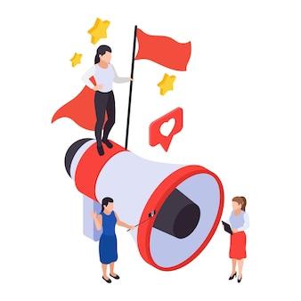 Conceito de publicidade de marketing de promoção de negócios isométrica com personagens e megafone