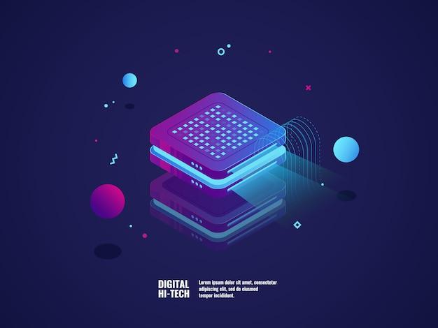 Conceito de publicidade digital, projeção de holograma, conceito de apresentação
