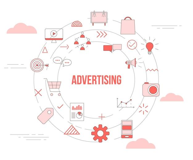 Conceito de publicidade empresarial com conjunto de ícones de banner de modelo e ilustração vetorial de forma redonda em círculo