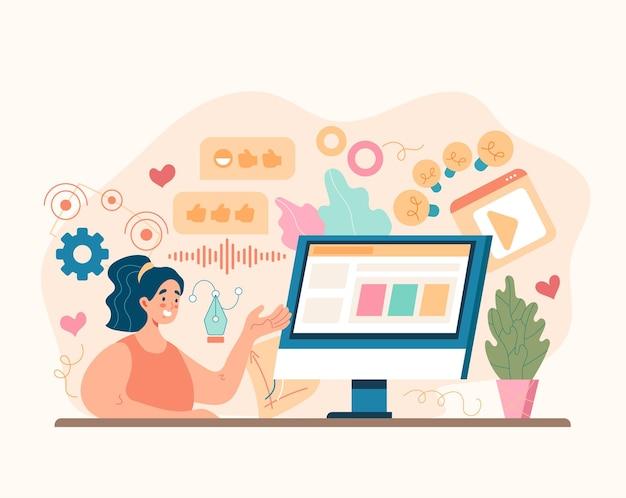 Conceito de publicidade empresarial de marketing de mídia social