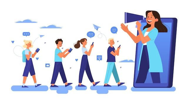 Conceito de publicidade móvel. redes sociais de promoção de estratégia de marketing