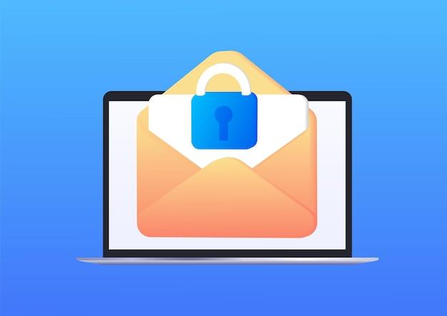 Conceito de publicidade on-line de marketing por e-mail cartas protegidas segurança de e-mail web banner